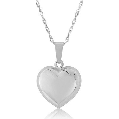 Mark Milton 9ct White Gold Small Puffed Heart Pendant Necklace