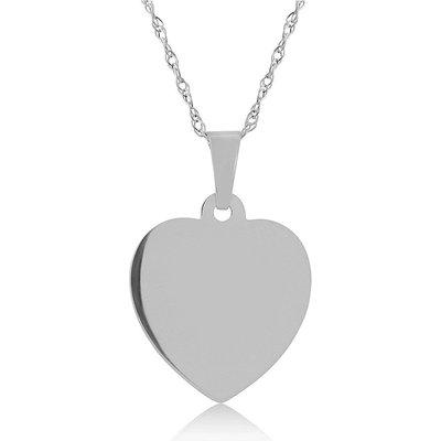 Mark Milton 9ct White Gold Engraving Heart Pendant Necklace