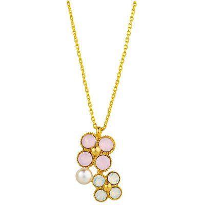 Knight & Day Rose Water Opal & Faux Pearl Pendant