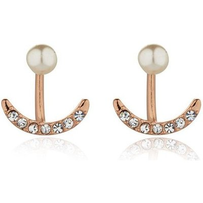 Knight And Day Rose Gold Crystal And Pearl Earrings