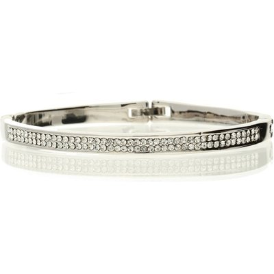 Bella Mia Kris Silver Solid Bangle with Crystal Detailing