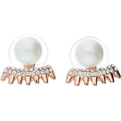 Bella Mia Rose Gold Pearl and Crystal Spike Earring Cuffs