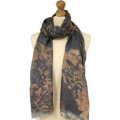 Liza Scarf - Grey With Brown Butterflies