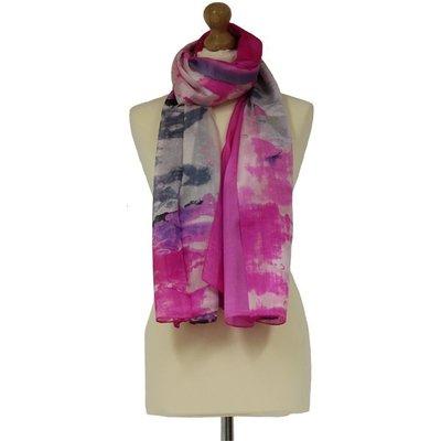 Tilley & Grace Fuchsia Pink & Grey Silk Scarf