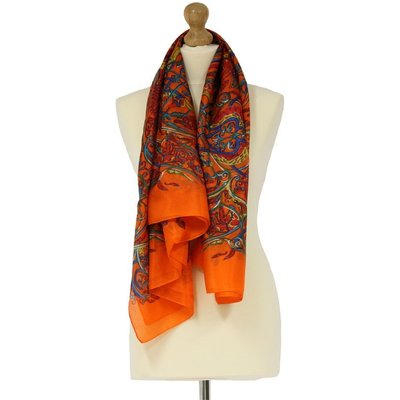 Tilley & Grace Orange Paisley Silk Scarf