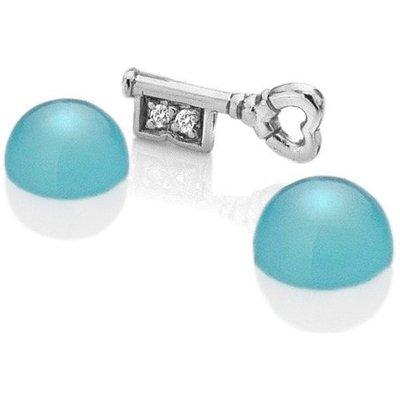 Anais Rhodium Key and Blue Agate
