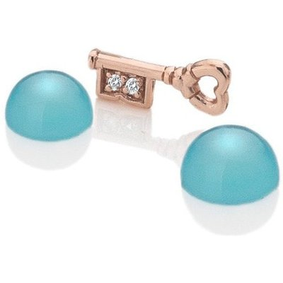 Anais Rose Gold Key and Blue Agate