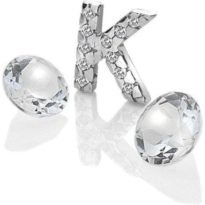 Anais Initial 'K' Rhodium and White Topaz