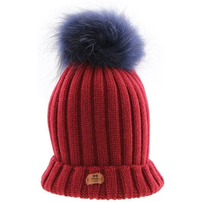 Bowtique London  Burgundy Ribbed Turn up Hat with Navy Pom Pom