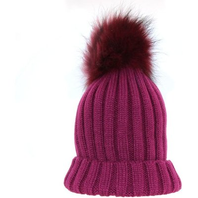 Bowtique London  Plum Ribbed Turn up Hat with Plum Pom Pom
