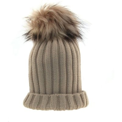 Bowtique London  Beige Ribbed Turn up Hat with Beige Pom Pom