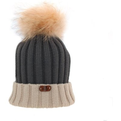 Bowtique London  Two - Tone Beige and Dark Grey Ribbed Turn up Hat with Pom Pom