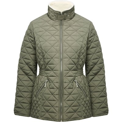 Women's Ladies long sleeve quilted borg lined funnel collar zip front pocket jacket