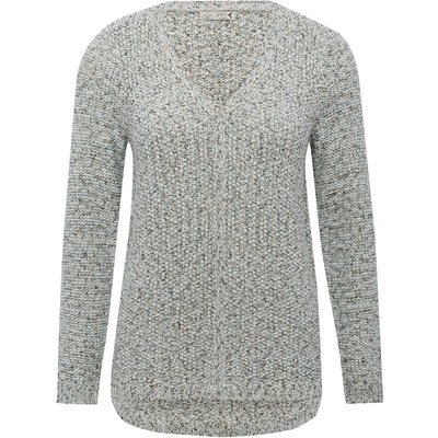 Women's Ladies v neck long sleeve multi tonal dipped hem metallic knit jumper