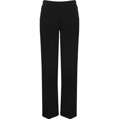 Women's Ladies full length statement high waist button side wide leg smart trousers