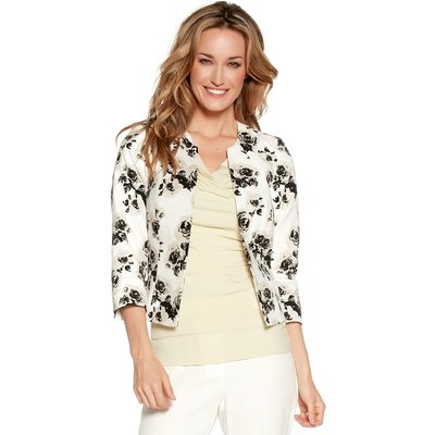 Women's Ladies boutique collection open front cropped sleevefloral print jacquard jacket