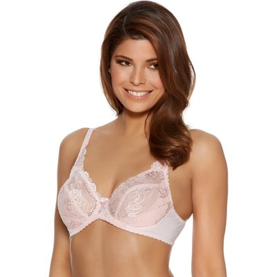 ladies underwired non padded cotton stretch full cup sheer floral Parisian lace Bra  - Dusty Pink