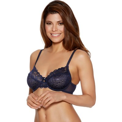 Ladies underwired sheer mesh floral lace leopard animal jacquard bra  - Navy