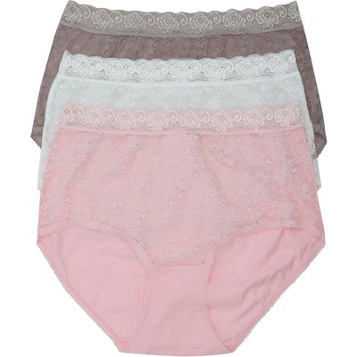 Ladies Plain Classic Cotton stretch Lace Trim Everyday Full Brief - 3 Pack Multipack  - Pink