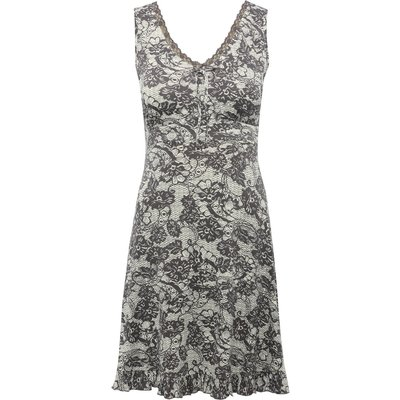 Ladies stretch jersey knee length sleeveless frill hem floral lace print nightdress  - Grey