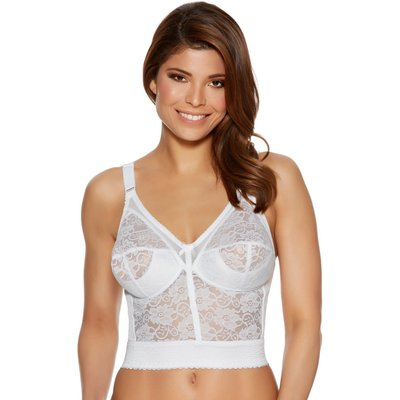 Naturana full cup non wired Wide adjustable straps longline panel lace bra  - White