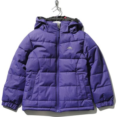 Trespass girls long sleeve stretch cuffs padded zip fastening hooded jacket  - Dark Purple