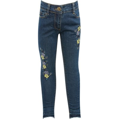 Girls cotton rich dark wash adjustable waistband floral embroidered let down hem full length jeans