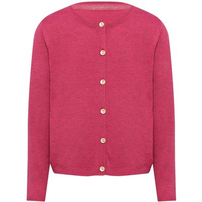 Girls plain berry long sleeve crew neck gold toned button front cardigan  - Berry Red