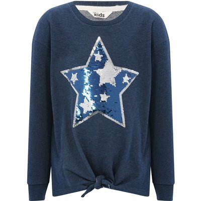 Girls cotton blend navy long sleeve crew neck two way sequin star design tie front sweater  - Navy