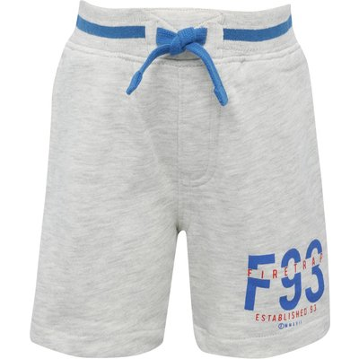 Firetrap boys cotton blend grey elasticated waistband blue contrast piping logo print sweat shorts