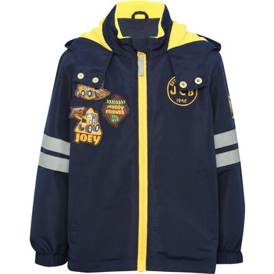 JCB navy long sleeve Joey character badge applique zip through reflective stripe hooded jacket  - Bl