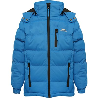 Trespass boys long sleeve detachable hood three zip pockets padded jacket  - Blue