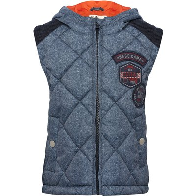 Boys navy textured padded zip fastening cord back yolk badge applique contrast lining  hooded gilet