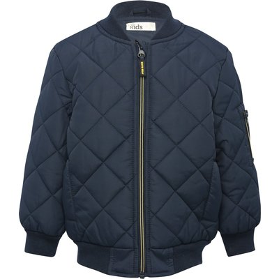 Boys navy long sleeve diamond quilted design zip through bomber jacket  - Navy