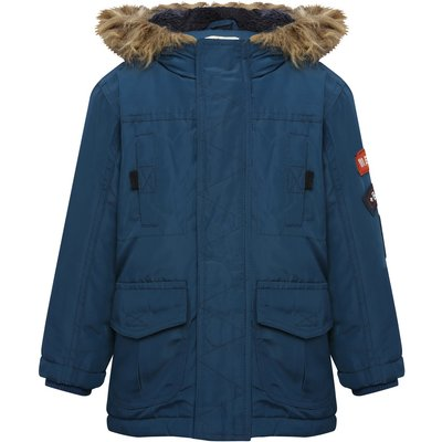 Boys long sleeve zip fastening press button placket badge applique faux fur trim hood parka jacket