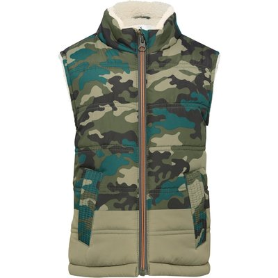 Boys khaki camouflage print fleece lining zip through fastening gilet  - Green Camo