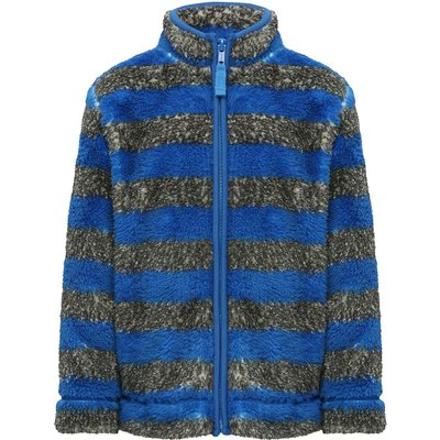 Boys long sleeve blue and grey stripe pattern zip through funnel neck sherpa fleece  - Blue