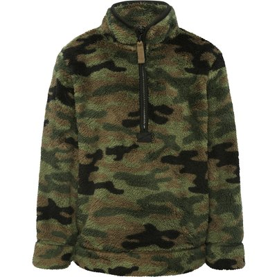 Boys long sleeve khaki camouflage zip through funnel neck sherpa fleece  - Green Camo