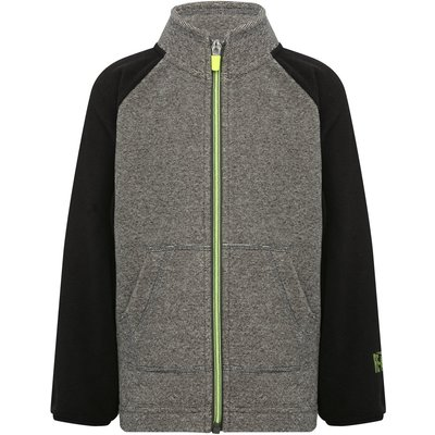 Boys long sleeve contrast zip fastening textured grey and black front open pocket fleece  - Grey