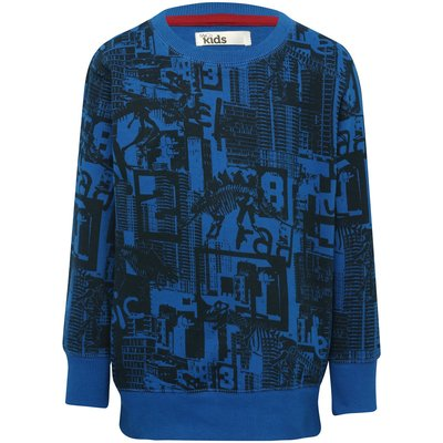 Boys 100% cotton cobalt blue long sleeve dinosaur graffiti print ribbed trim crew neck sweater  - Bl