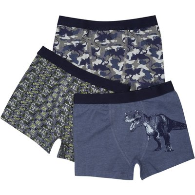 Boys cotton rich dinosaur camouflage print elasticated waistband trunks three pack  - Multicolour