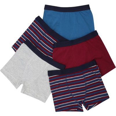 Boys cotton stretch multi-coloured plain and stripe pattern stretch waist trunks five pack  - Multic