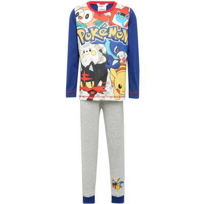 Pokemon boys cotton rich character print long sleeve top and cuffed ankle trouser pyjama set  - Mult