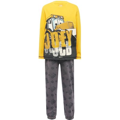 JCB boys cotton blend yellow and grey long sleeve Joey character print top and trousers pyjama set