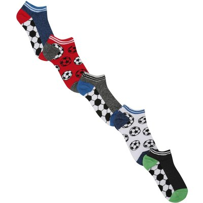 Boys cotton rich multi-coloured football print stripe elasticated trim trainer socks five pack  - Mu