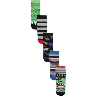 Boys cotton rich stretch multi-coloured monster themed stripe design ankle socks five pack  - Multic