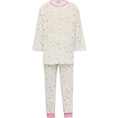 Girls cotton rich cream long sleeve pink star print frill edge top and trouser pyjama set  - Multico