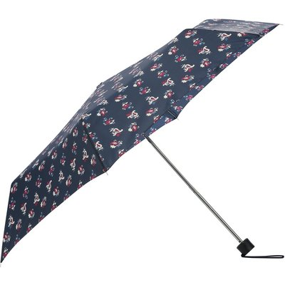 Ladies Navy Floral Print Steel Framed Folding handbag Umbrella with cover  - Navy