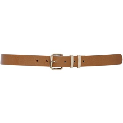 Ladies leather look gold hardware buckle fasten fashion keeper belt  - Tan