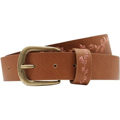 Ladies floral embroidered leather look belt  - Tan